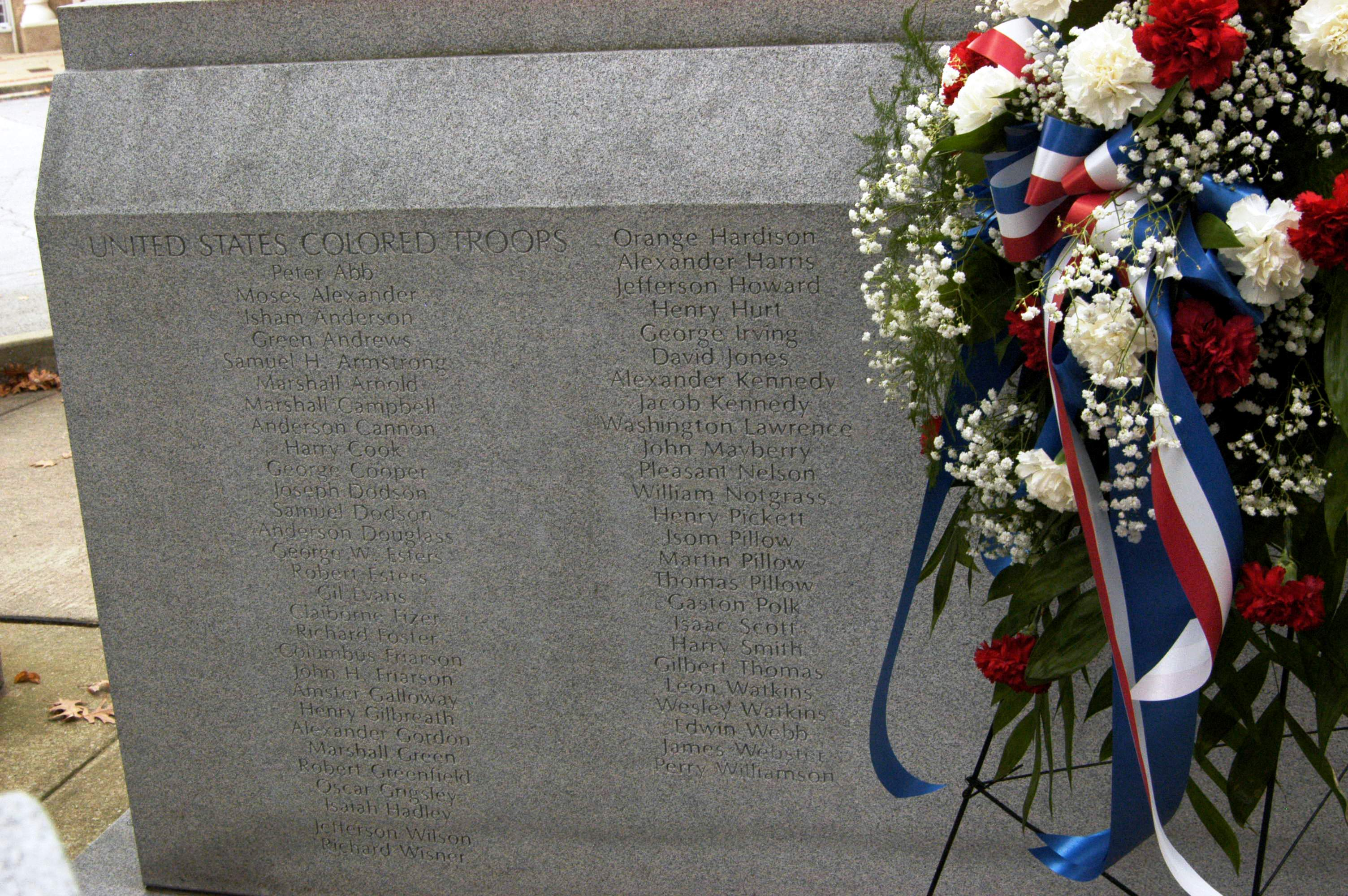 The base of the monument where fifty-four names of the United States Colored Troops as well as four federal soldiers who died in action during the Civil War were added in 2013.