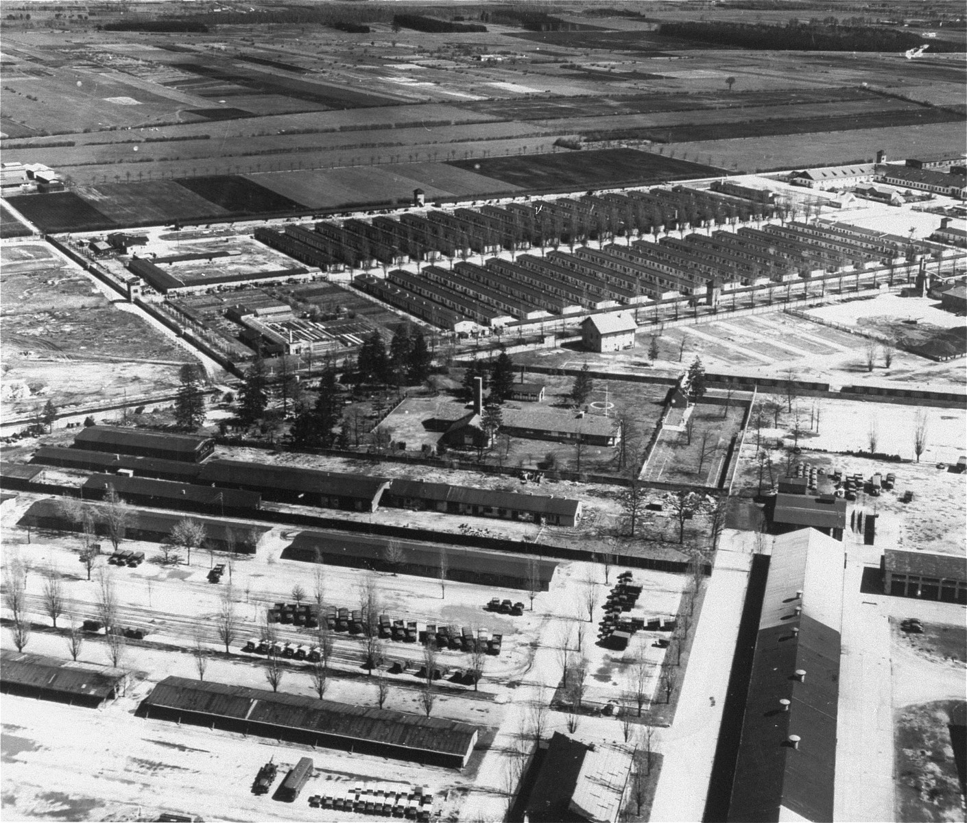 Aerial view of Dachau main camp