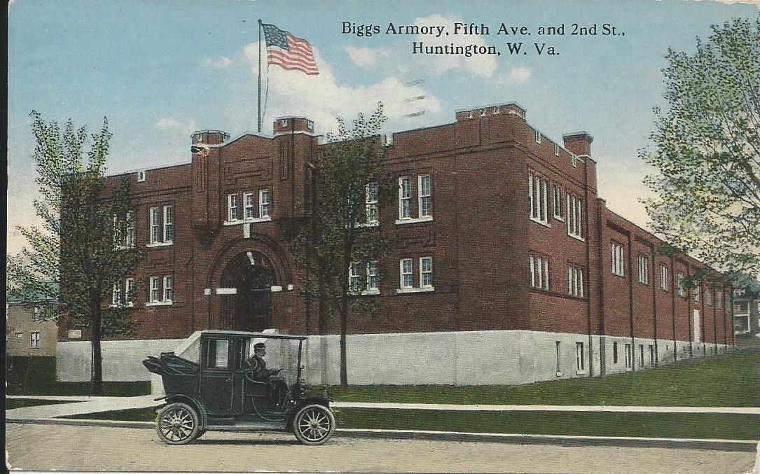 The Biggs Armory was located where People's Bank is currently located. This photo of the armory was featured on a 1914 postcard. Picture courtesy of James E. Casto, The Herald-Dispatch.