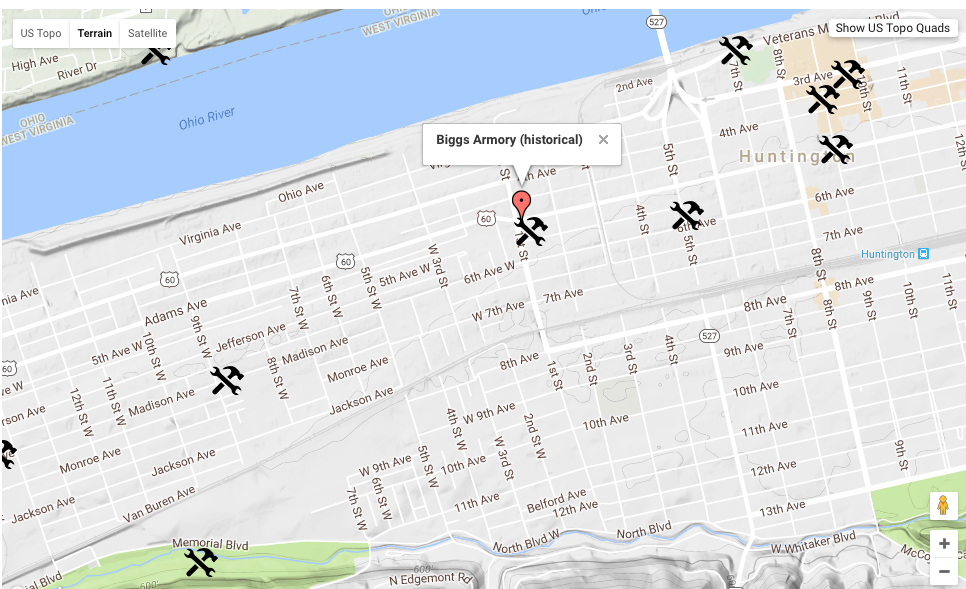 The historical location of Biggs Armory can be viewed on a US Topographic Map in the Huntington, WV US Topo Map quadrant.