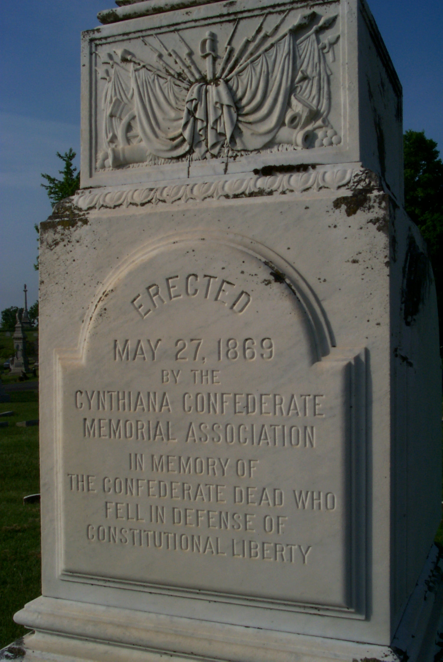 Inscription on the front of the monument.