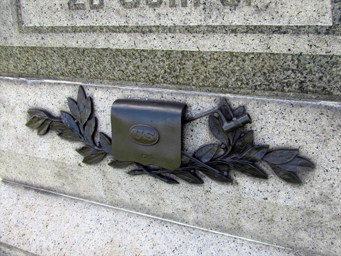 Bronze embellishment on the base of the 59th New York Infantry Monument.