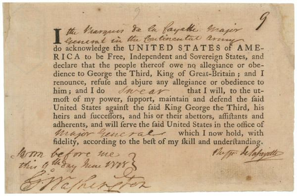 Lafayette's Oath of Allegiance to the United States, June 9, 1778. National Archives.
