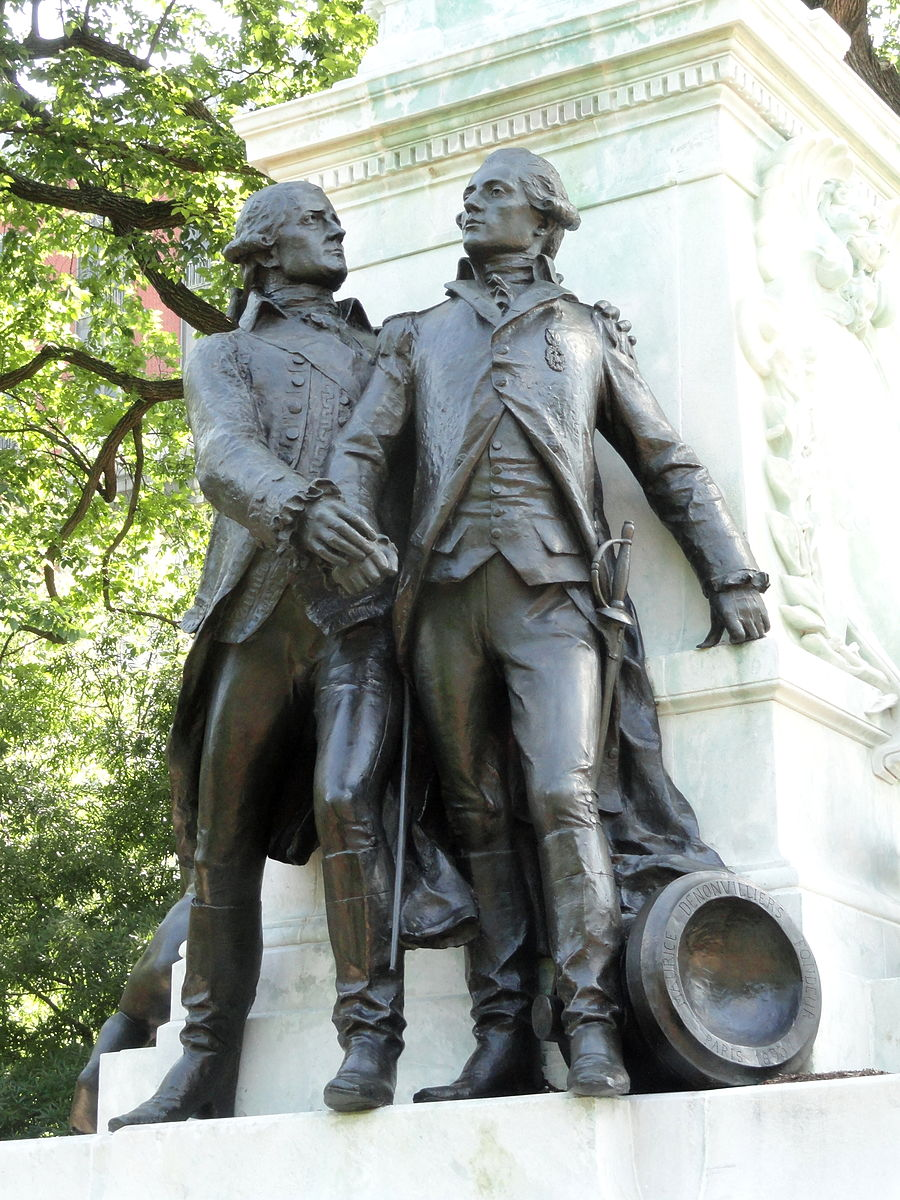 Comte de Rochambeau and the Chevalier du Portal, French army commanders who aided Lafayette in the American Revolution.