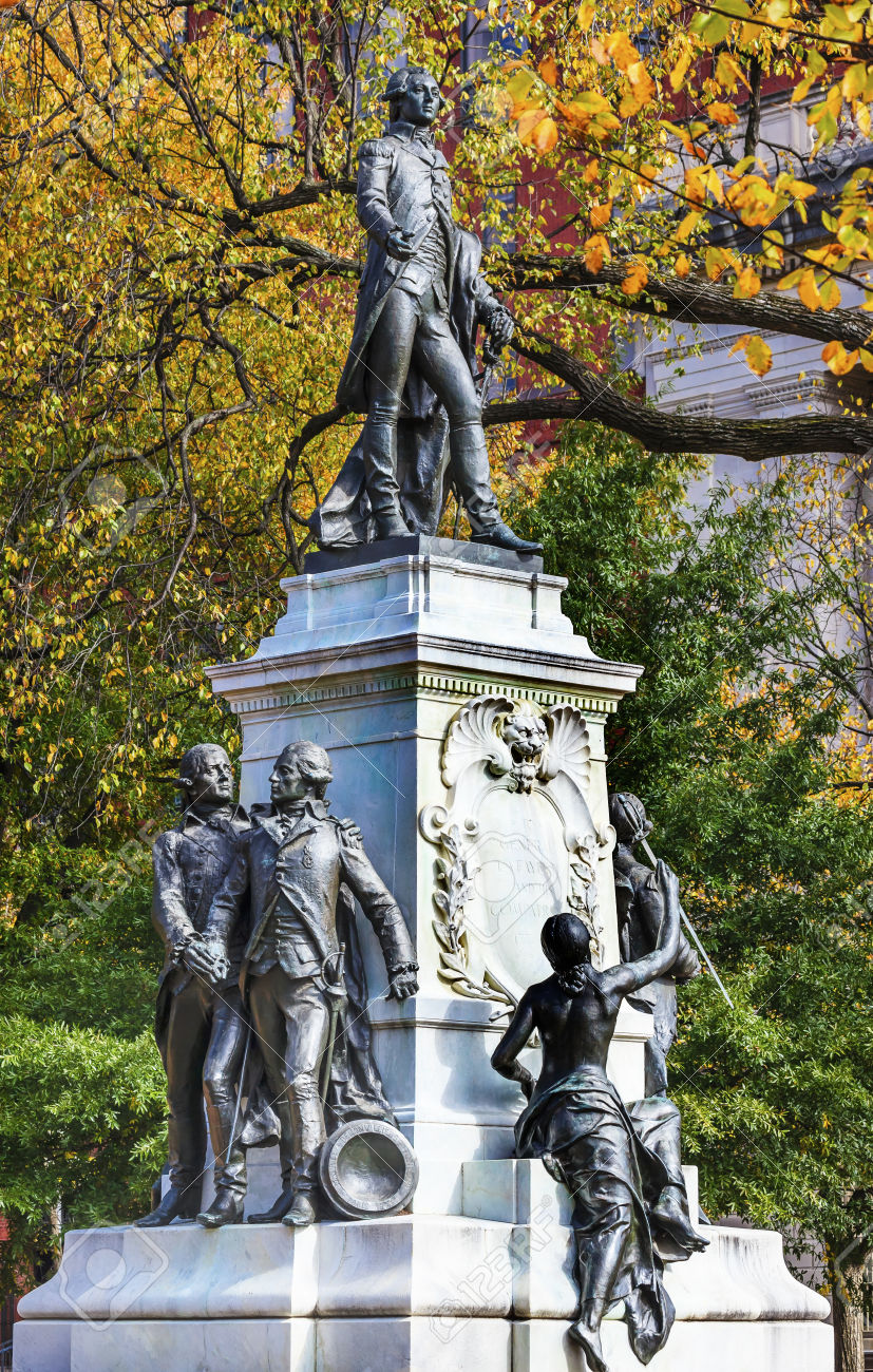 The full statue of the Frenchman that came to assist in the Revolution. The personified symbol of America sits at his feet.