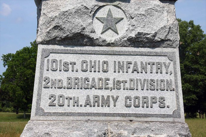 Inscription on the 101st Ohio Infantry Regiment Monument