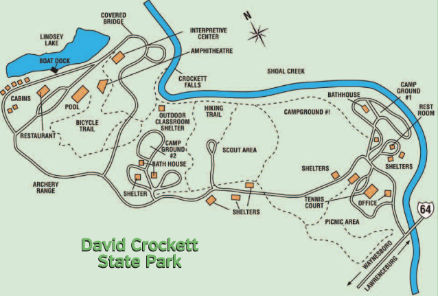 A map showing the layout of David Crockett State Park.