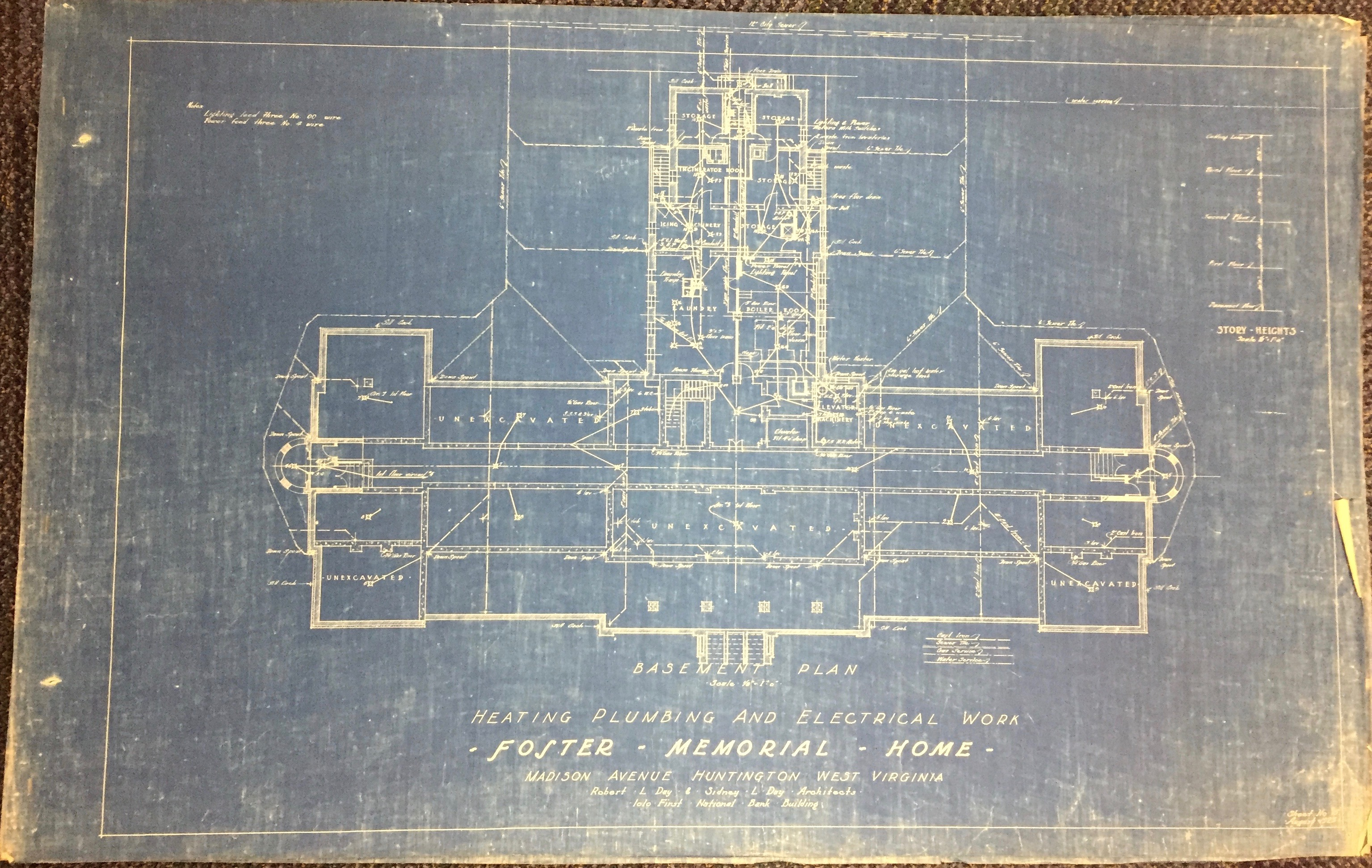 A blueprint showing heating and plumbing work for the Foster Memorial Building, from the Sidney Day collection in Marshall University Special Collections Department.