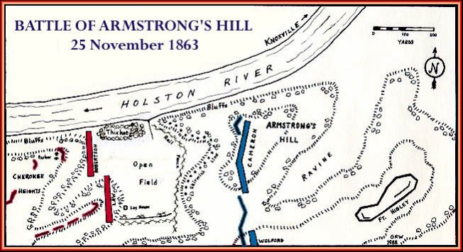 Map of where the Battle of Armstrong's Hill took place.