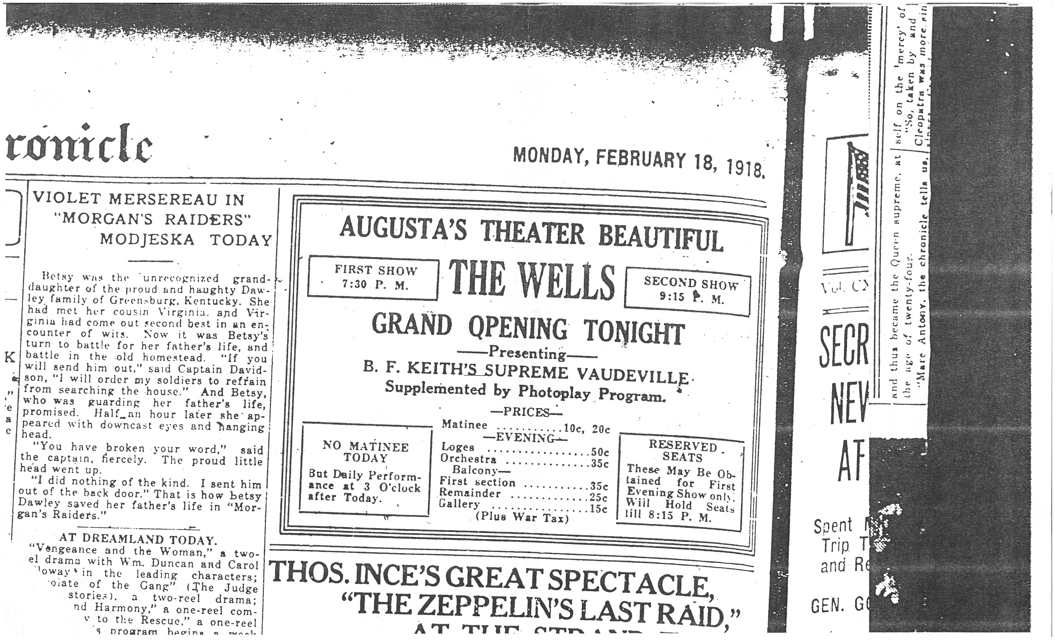 Ad for Grand Opening of Wells Theater