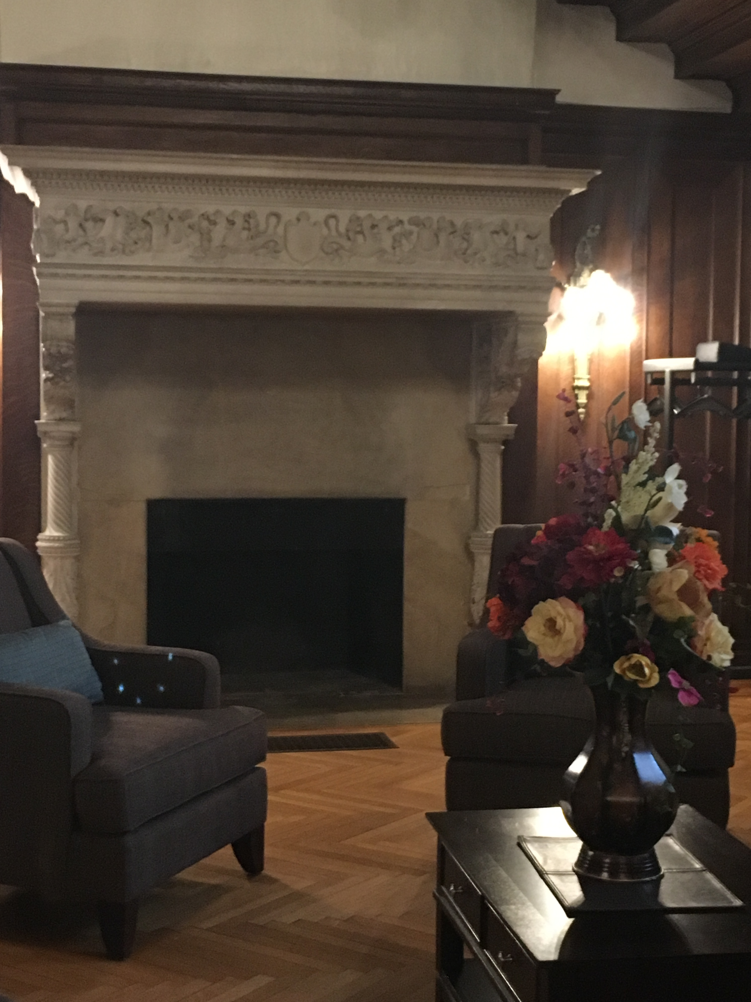 This is one of the many marble fireplaces in Fairlawn Estate. This fireplace is located in the foyer.