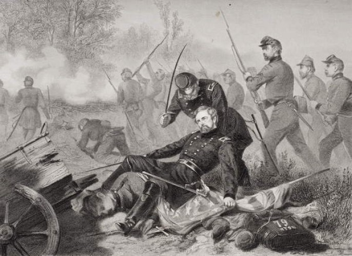 Death of General Stevens by Alonzo Chappel