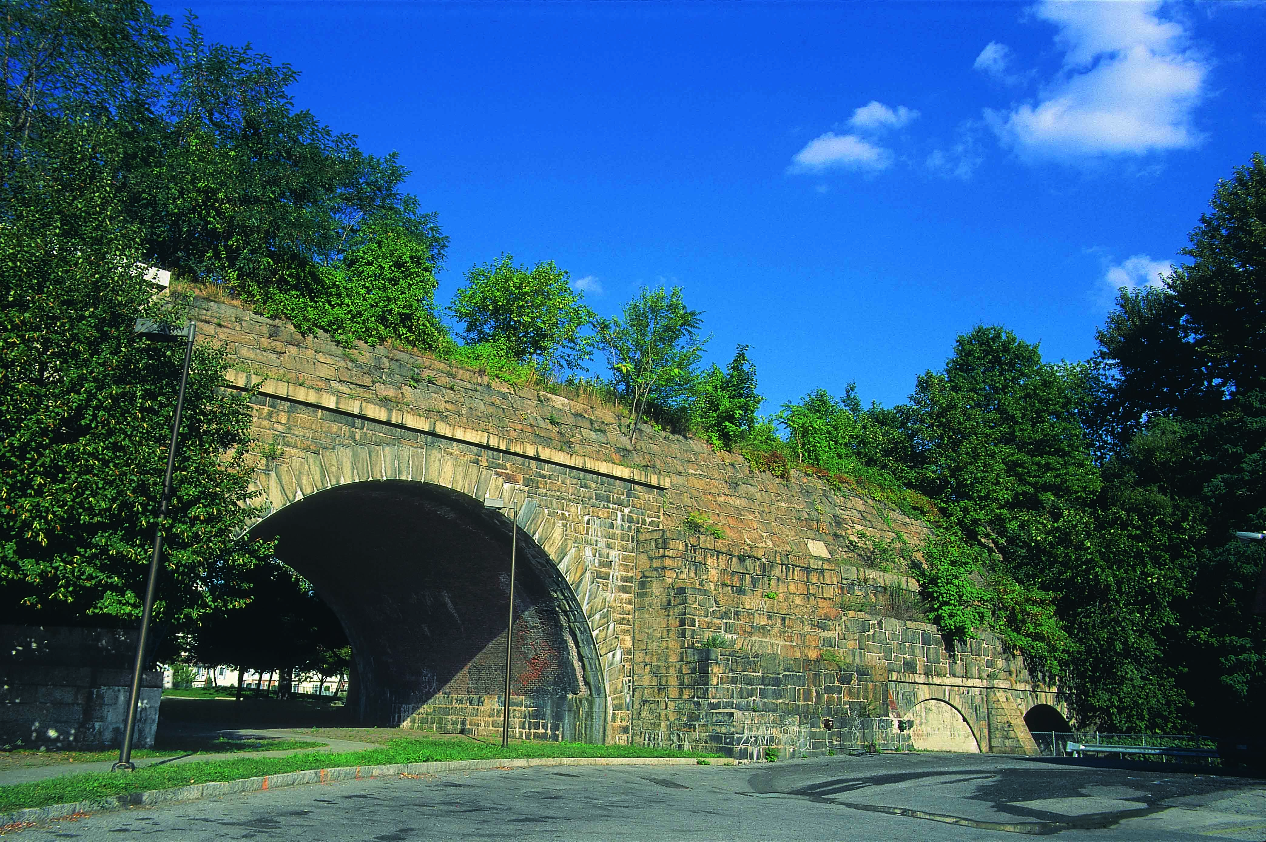 Old Croton Aqueduct crossing of Nepperhan Avenue in Yonkers.