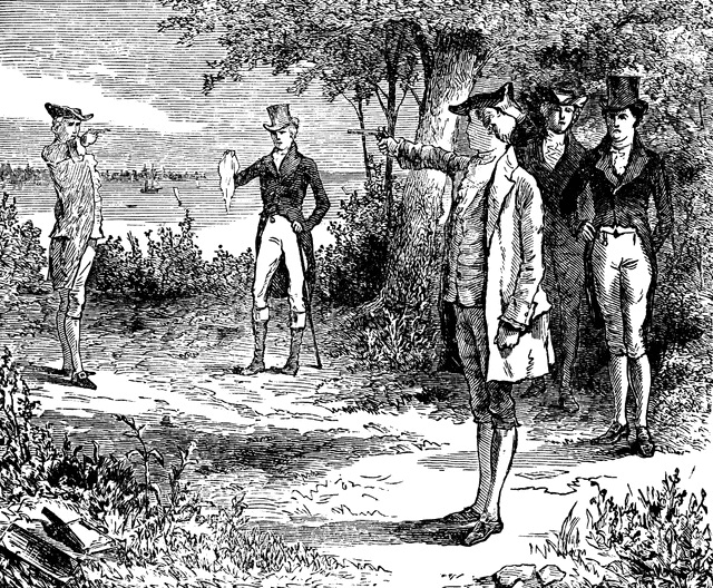 Alexander Hamilton (1757-1804) and Aaron Burr (1756-1836) Duel in Weehawken, New Jersey.