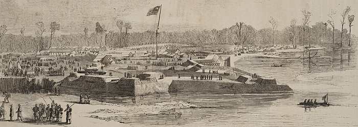 Fort Henry shortly after the Union had taken possession of the fort. Notice how the part of the fort in the foreground is pictured under water from the rising of the river.