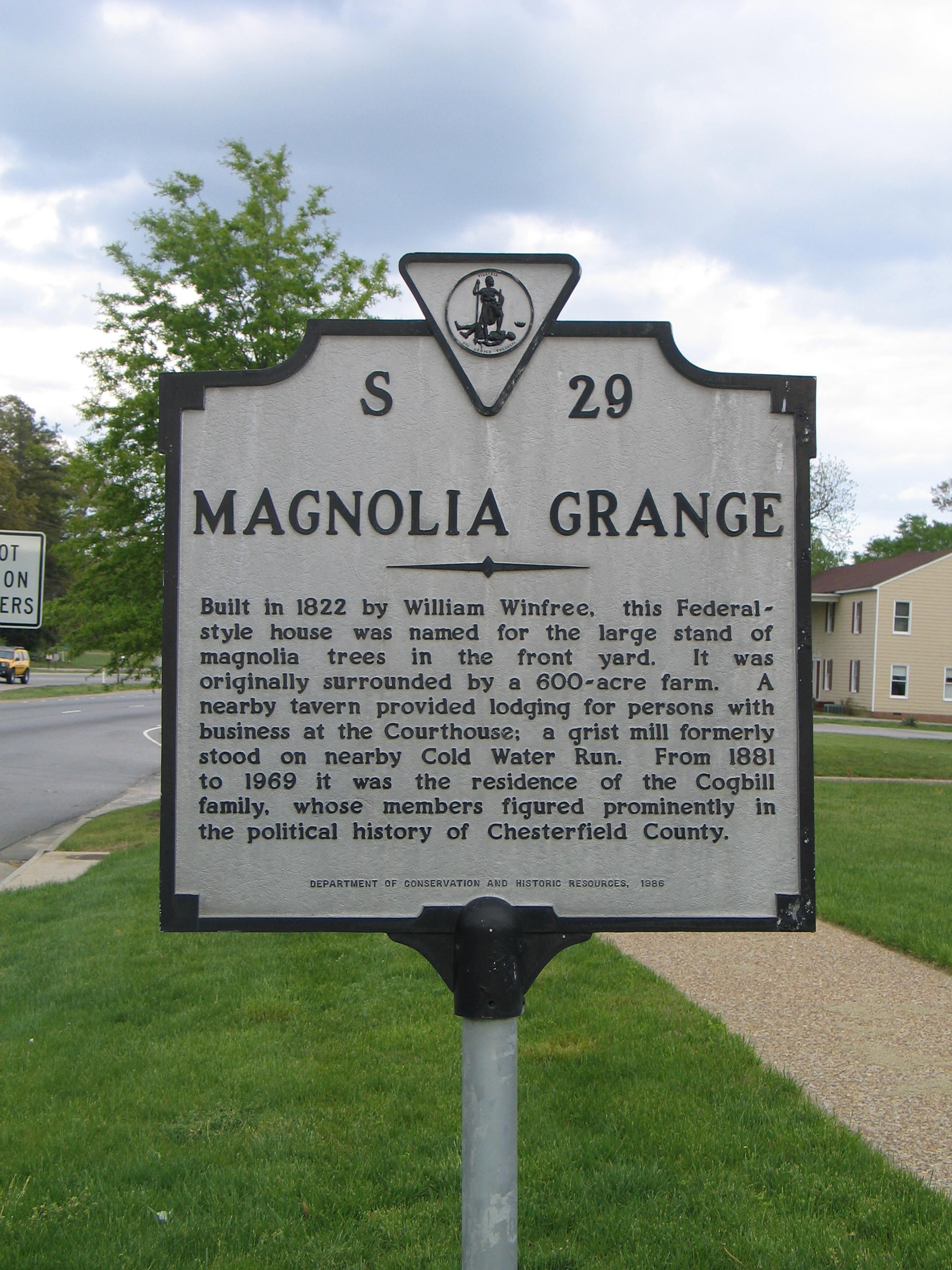Magnolia Grange Historical Plaque