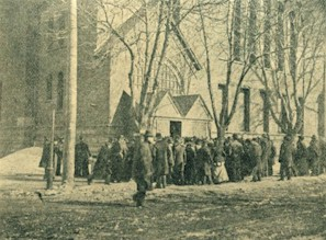 Crowd of mourners outside of Central Presbyterian Church during Frederick Douglass's funeral service