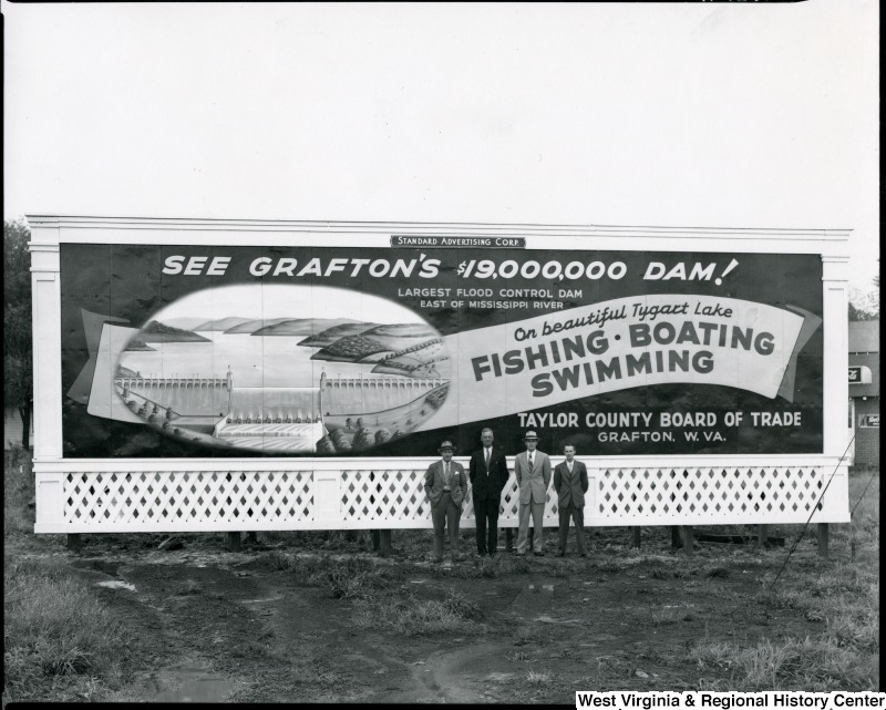 Billboard for the newly constructed Tygart Lake Dam in Grafton, WV