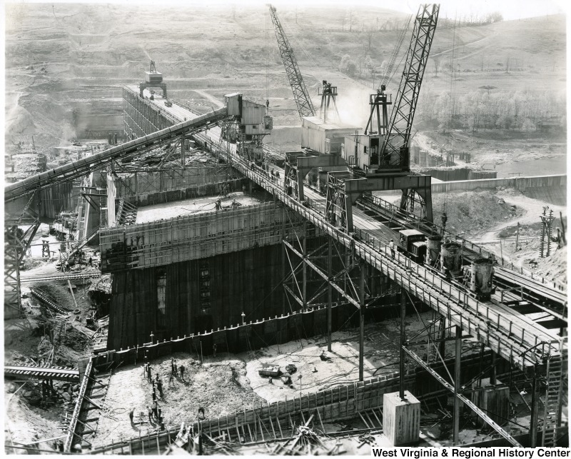 Construction of the Tygart Lake Dam in the 1930s