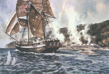 Artists's rendition of the Battle of San Diego Bay
