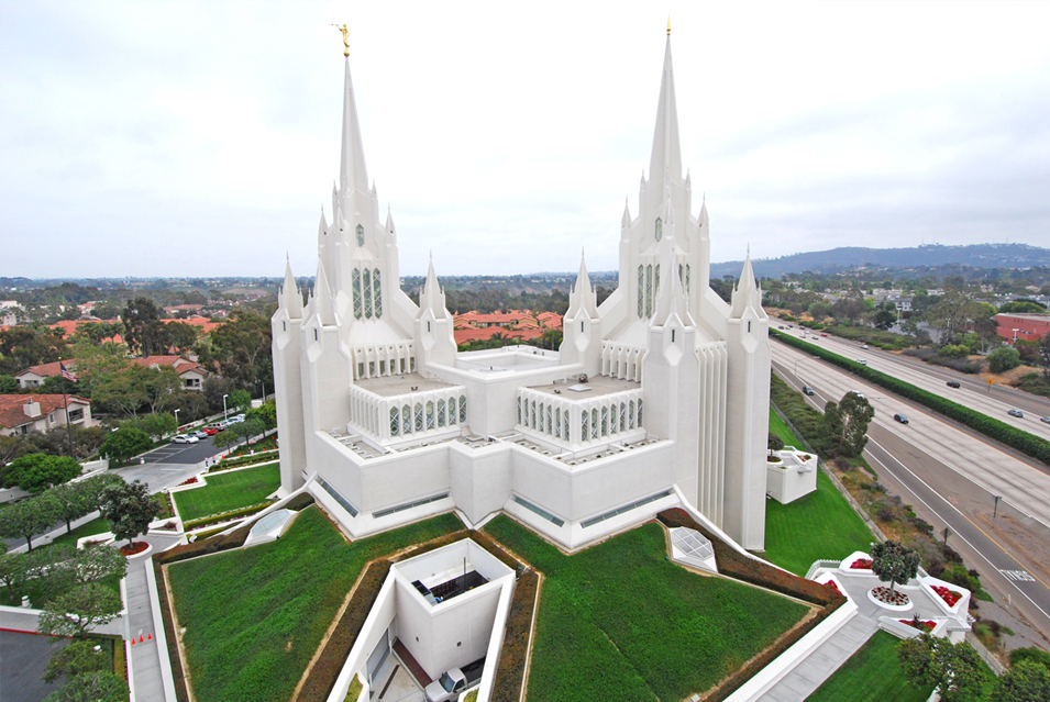 Ariel view of the back of the temple