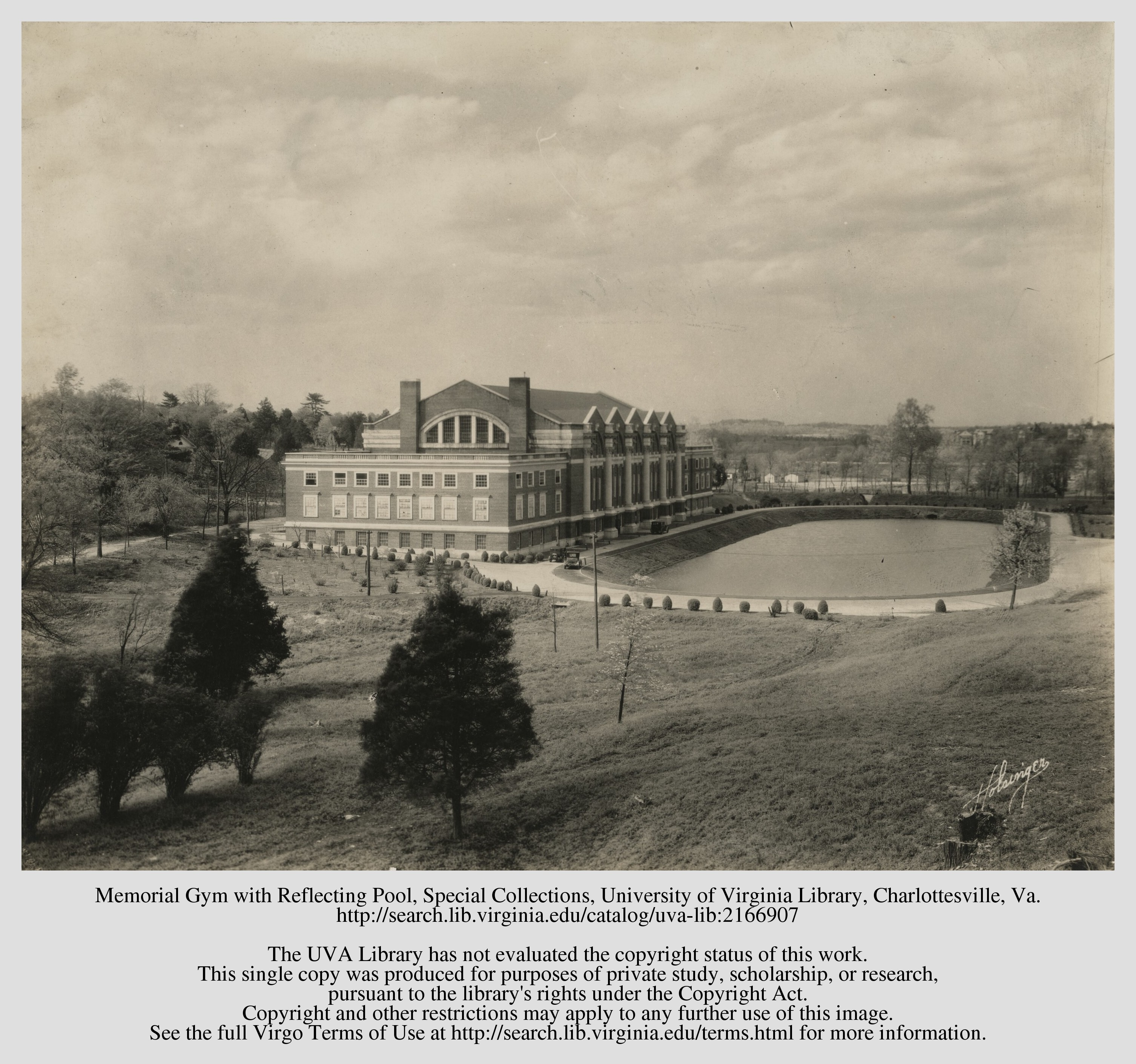 (Ca. 1924) Memorial Gym and the pond that is now Nameless Field