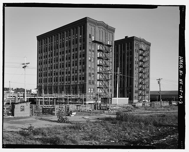 View of the backside of the South Omaha Livestock Exchange Building. Courtesy of the Library of Congress