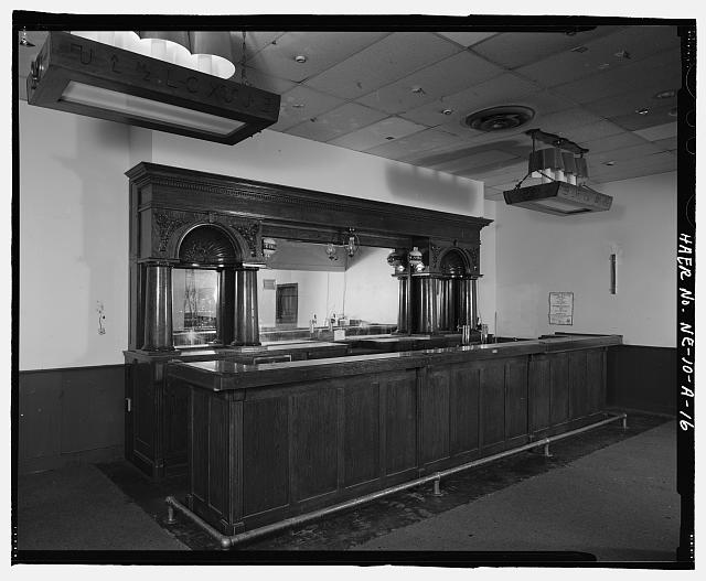Interior view of an empty bar in the South Omaha Livestock Exchange Building.  Courtesy of the Library of Congress