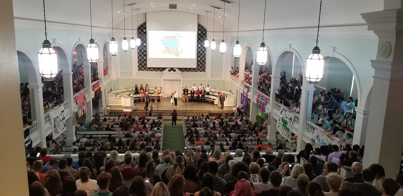 This is the space where the entire student body can gather. Each June, the West Virginia Annual Conference also gathers in this place for worship and business meetings. In each case there are more than 1,000 people.