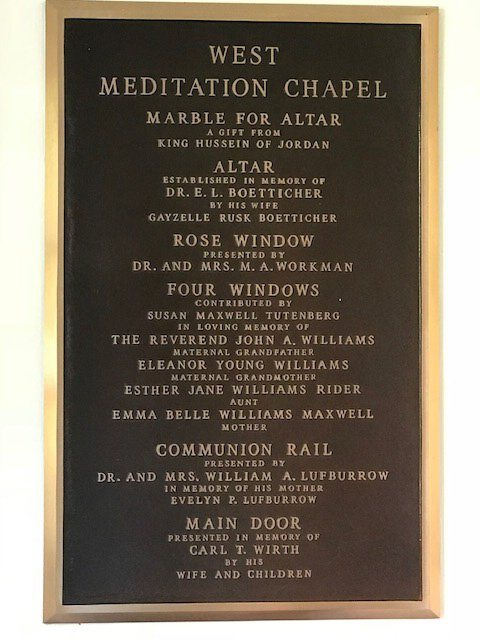 There are many meaningful things in the West Meditation Chapel. It is located toward the back of the building on the first floor, and is named for Mr. and Mrs. Calvin West.