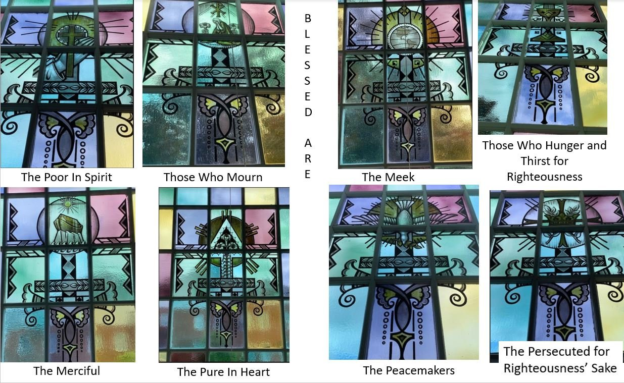 The windows in the balcony reflect the Sermon on the Mount. Eight of them are based on the Beatitudes. One on You Are the Salt of the Earth, and two are related to You Are The Light of The World.
