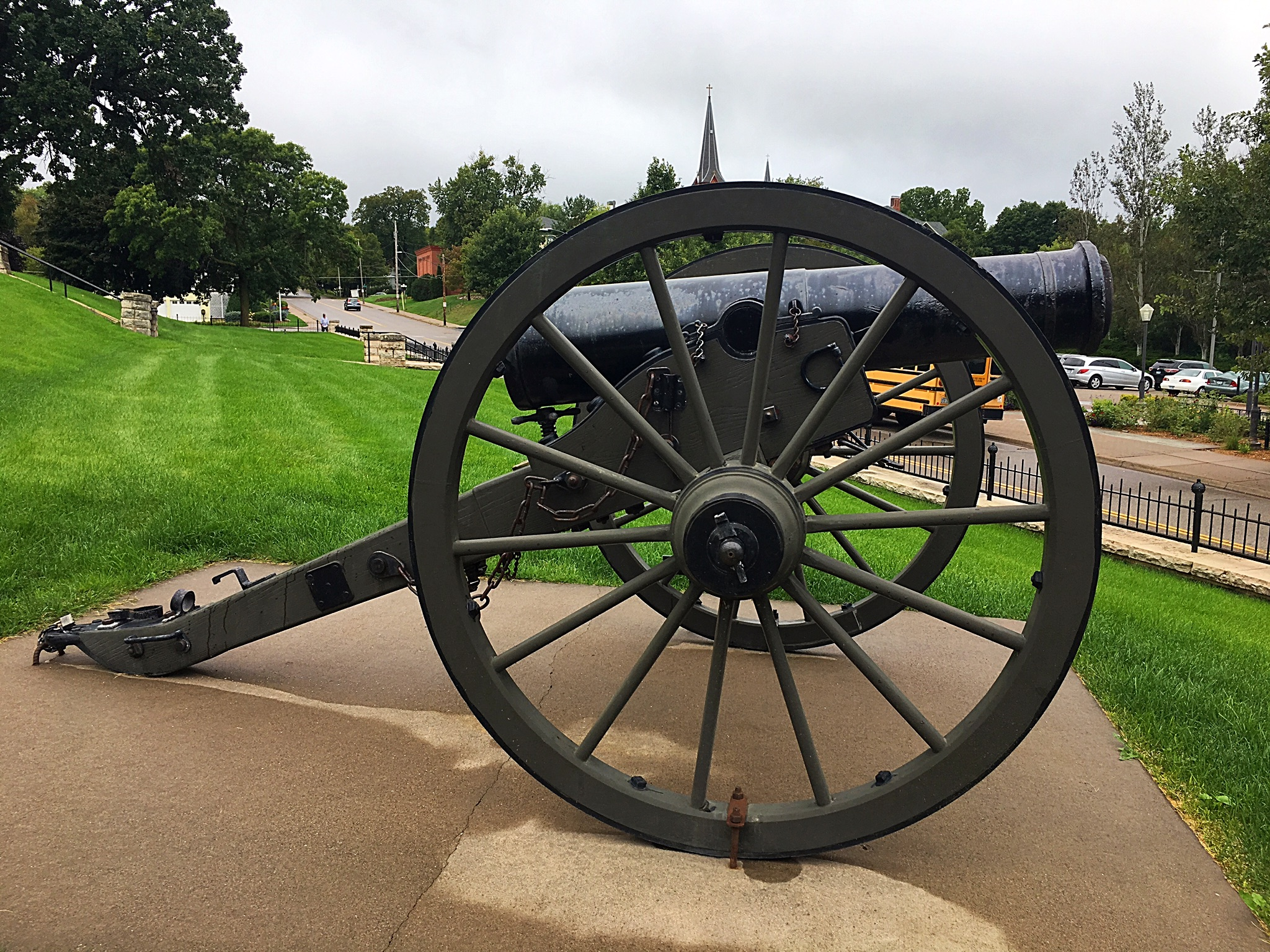 This 24-pounder flank howitzer sits on the grounds of the Washington County Historic Courthouse. The barrel is an authentic Civil War piece, manufactured in 1864. The carriage is a replica. This cannon is the third to sit on the courthouse grounds, with the first two removed from the site to support the World War I and World War II efforts in 1916 and 1932, respectively.