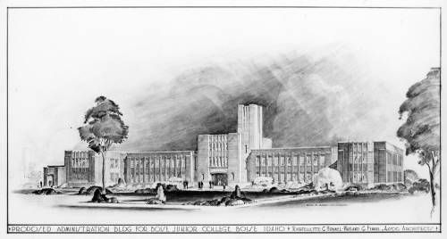 Charcoal drawing of Boise Junior College Administration building, drawn 1930