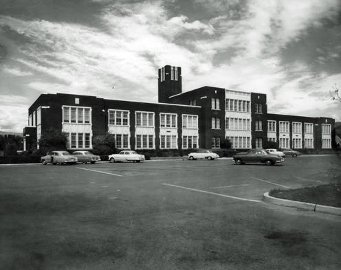 Rear view of Administration building in the 50's