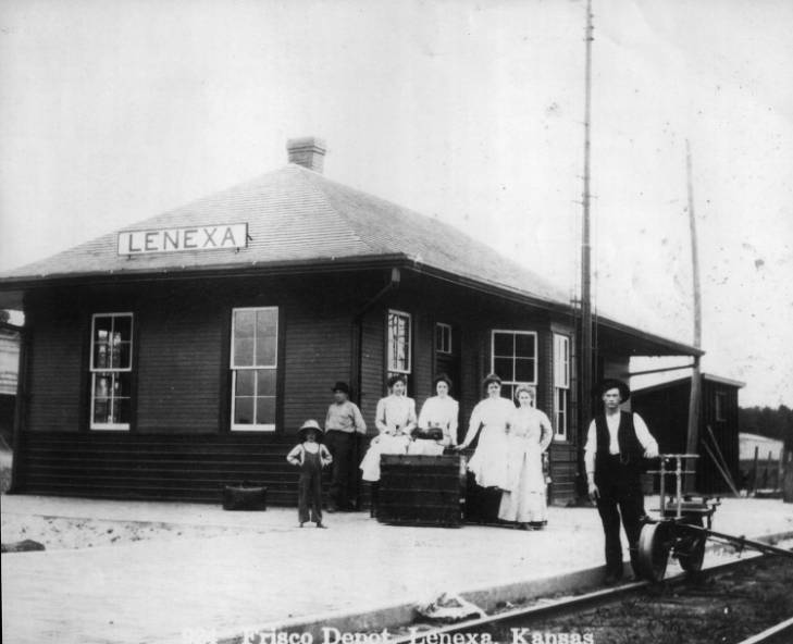 The depot at its original location in Old Lenexa