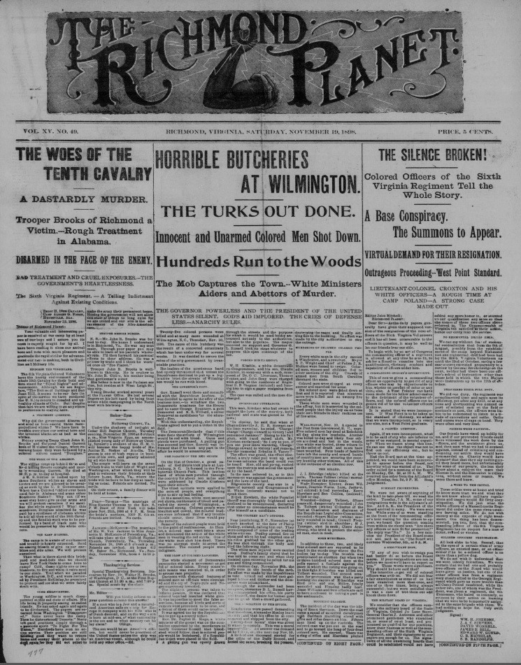 A publication from the black owned Richmond Planet on the events of the Wilmington Race Riot.