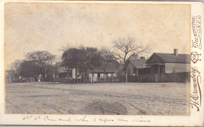 """Site on Third Street where two African American men were shot and killed as denoted by the """"x"""" in the photo.   http://www.history.ncdcr.gov/1898-wrrc/report/Chapter5.pdf"""