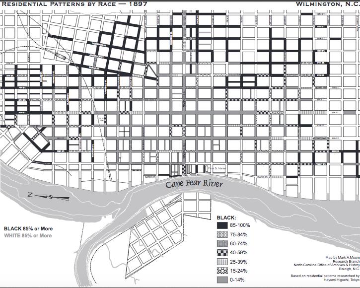 Residential patterns by race, 1897.  http://www.history.ncdcr.gov/1898-wrrc/report/maps/residential-patterns-by-race_1897.pdf