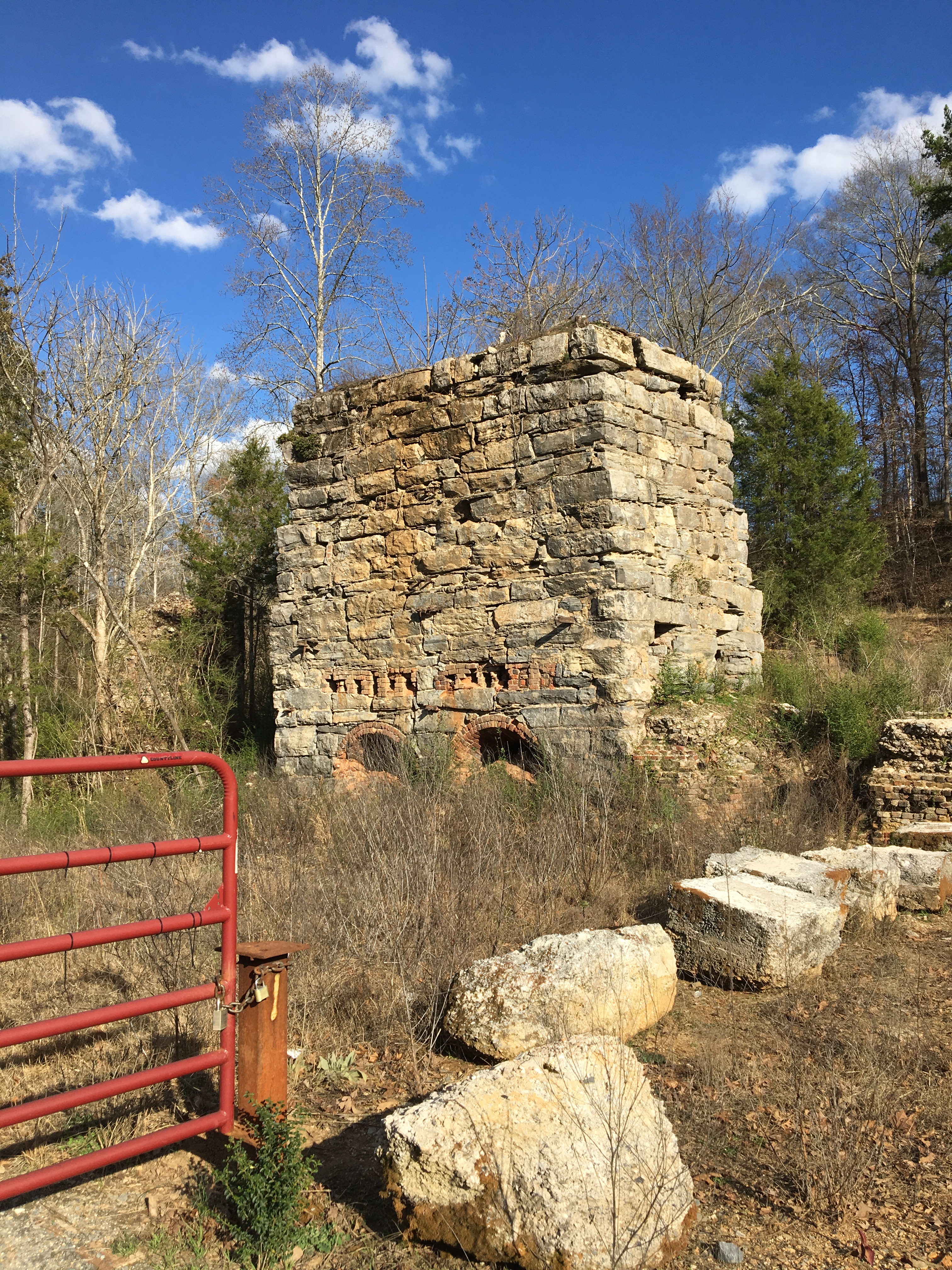 Ruins of a kiln from the Howard Hydraulic Cement Company in the former town of Cement, GA, 2017.
