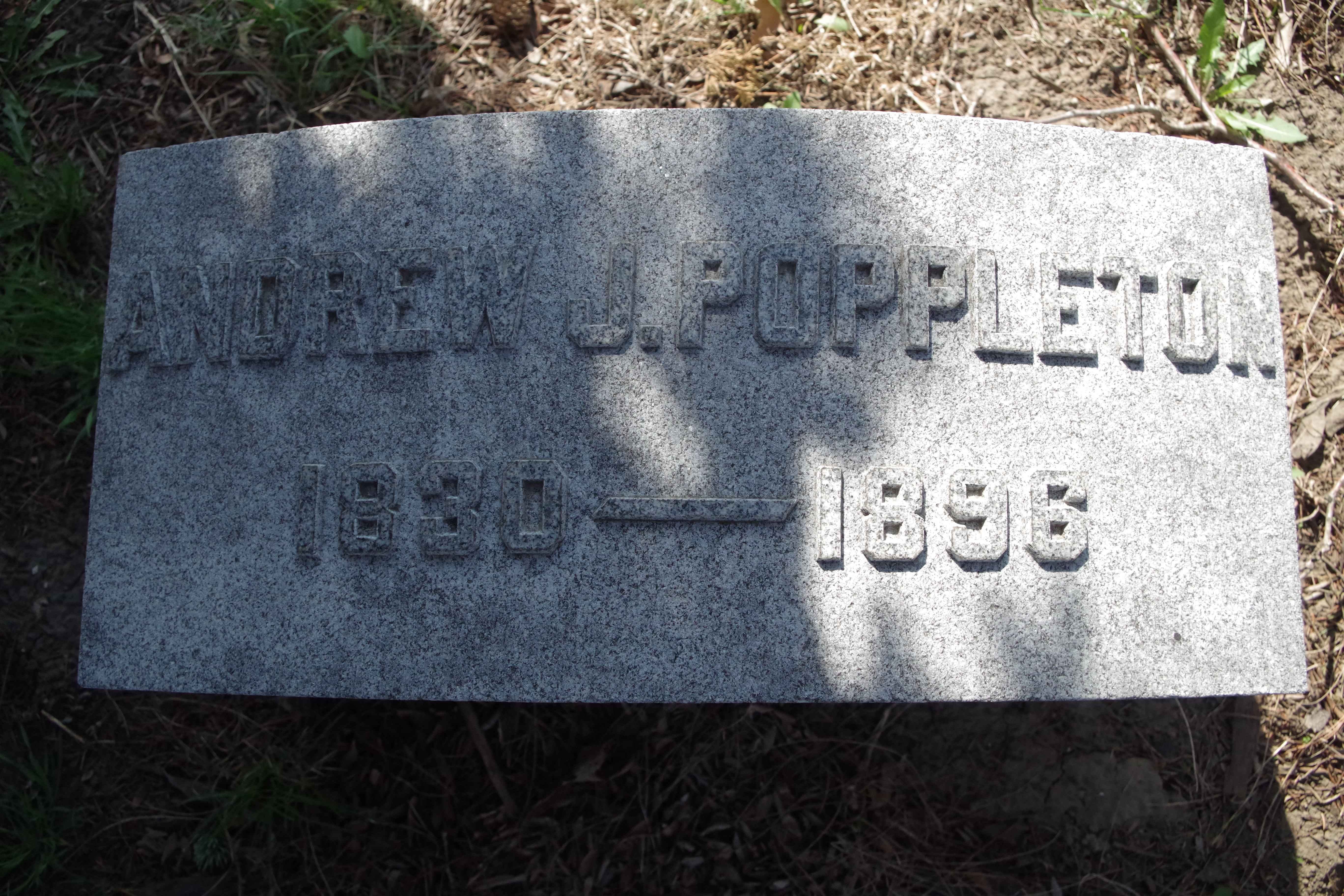 Burial Marker for A.J. Poppleton.