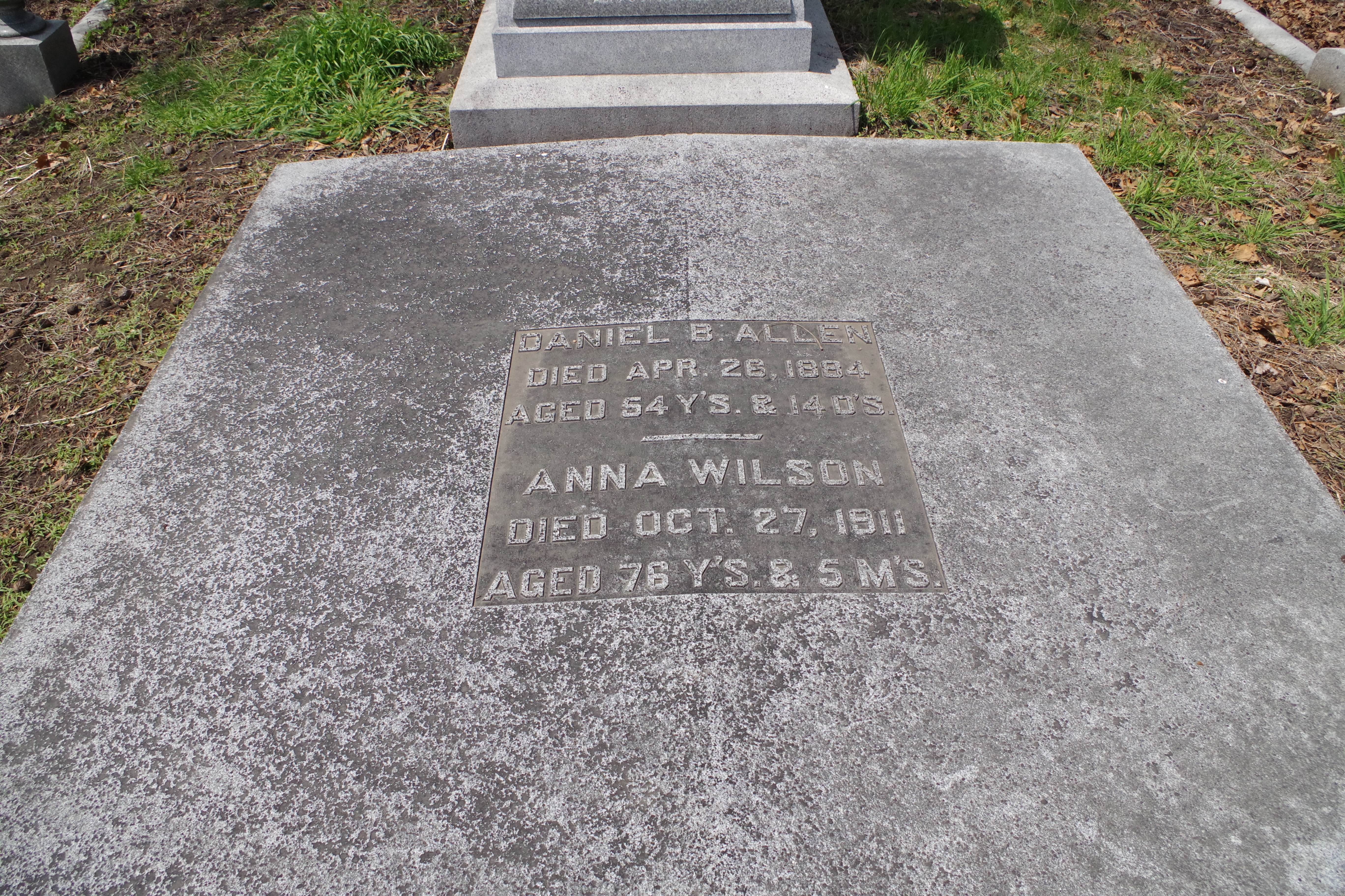 "Burial Marker for Anna Wilson, the ""Queen of the Underworld"" and her gentleman friend Dan Allen."