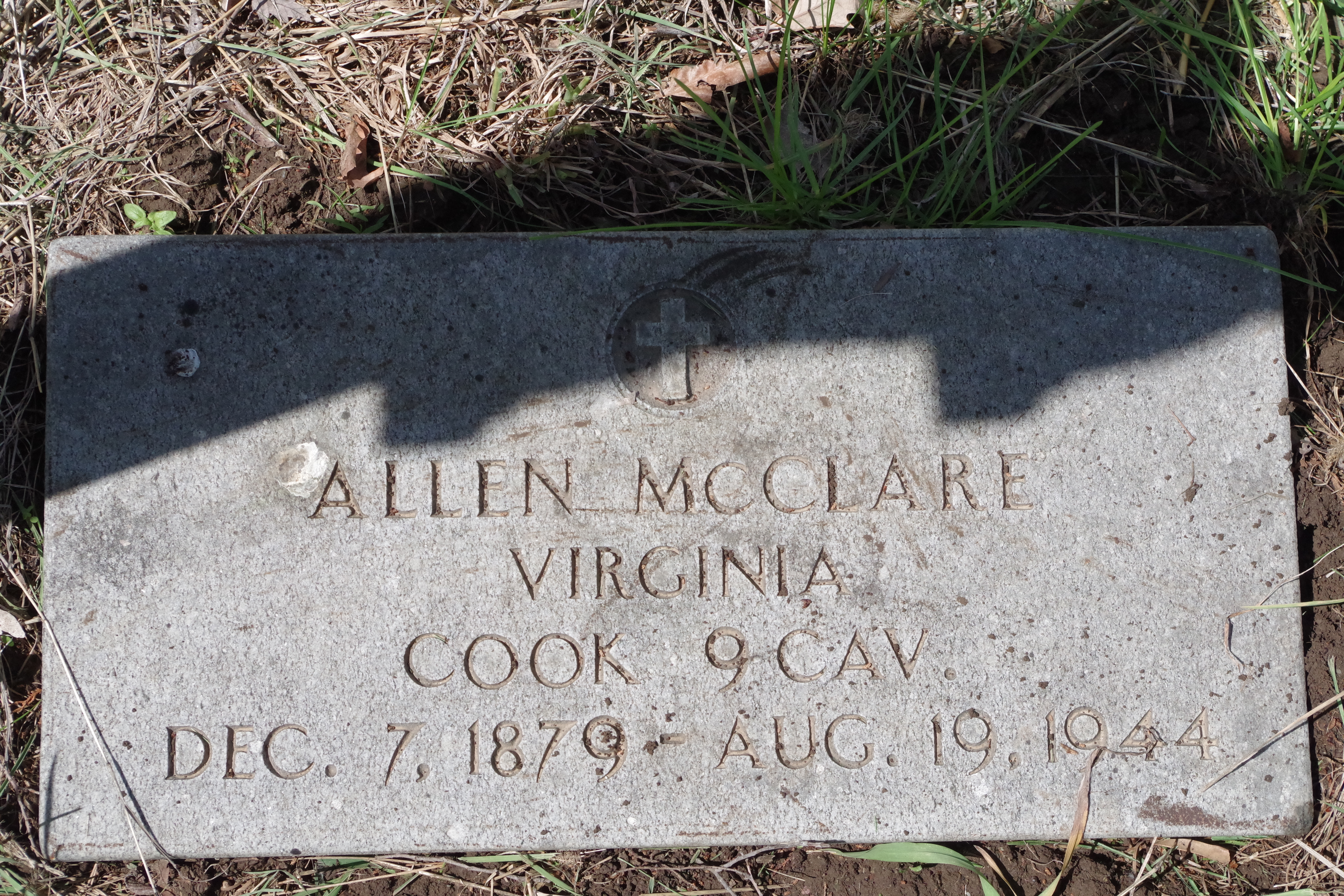 "Burial Marker for Sgt Allen McClare, the ""Buffalo Soldier."""