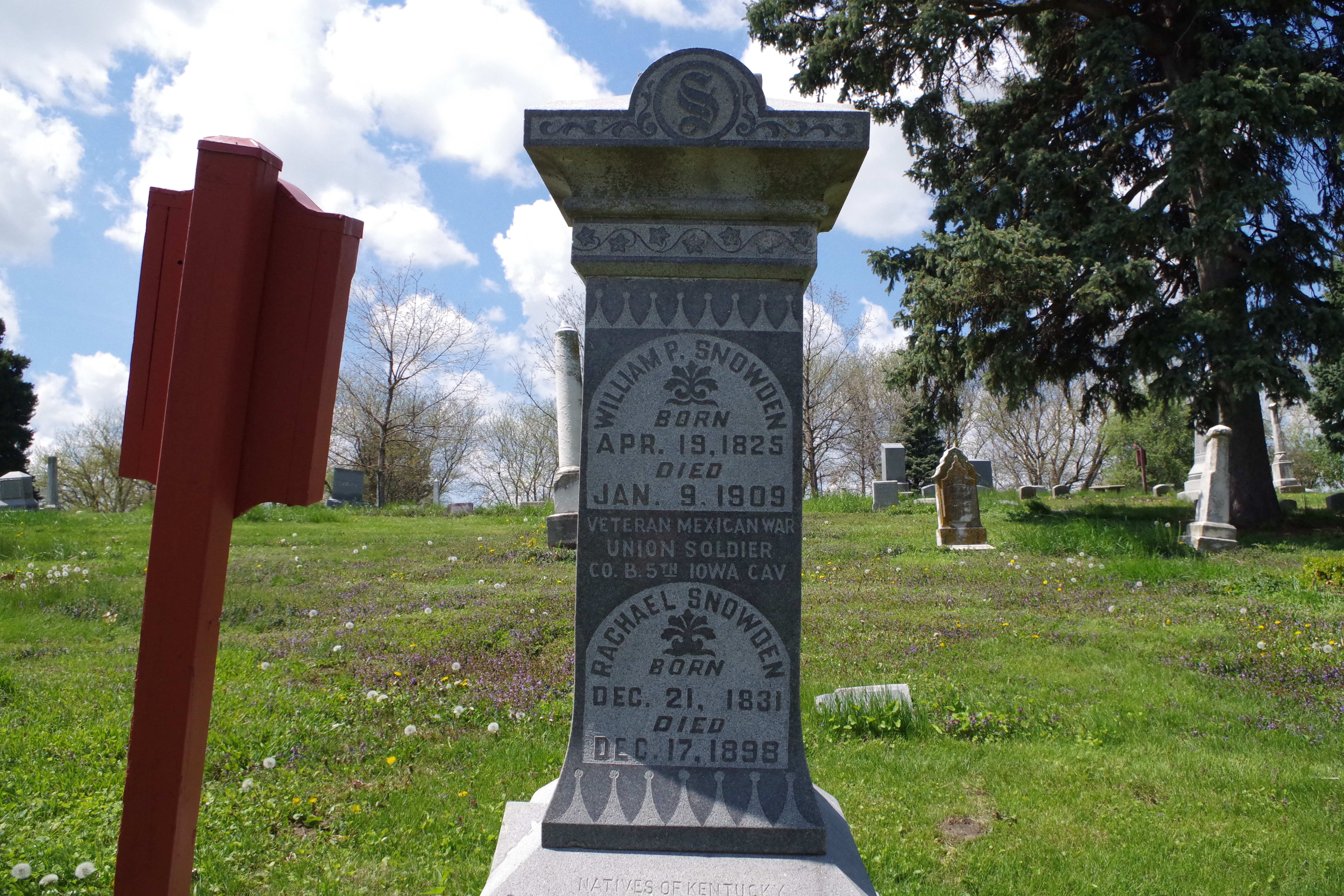 Burial Marker for William and Rachael Snowden, Omaha's first permanent white settlers.