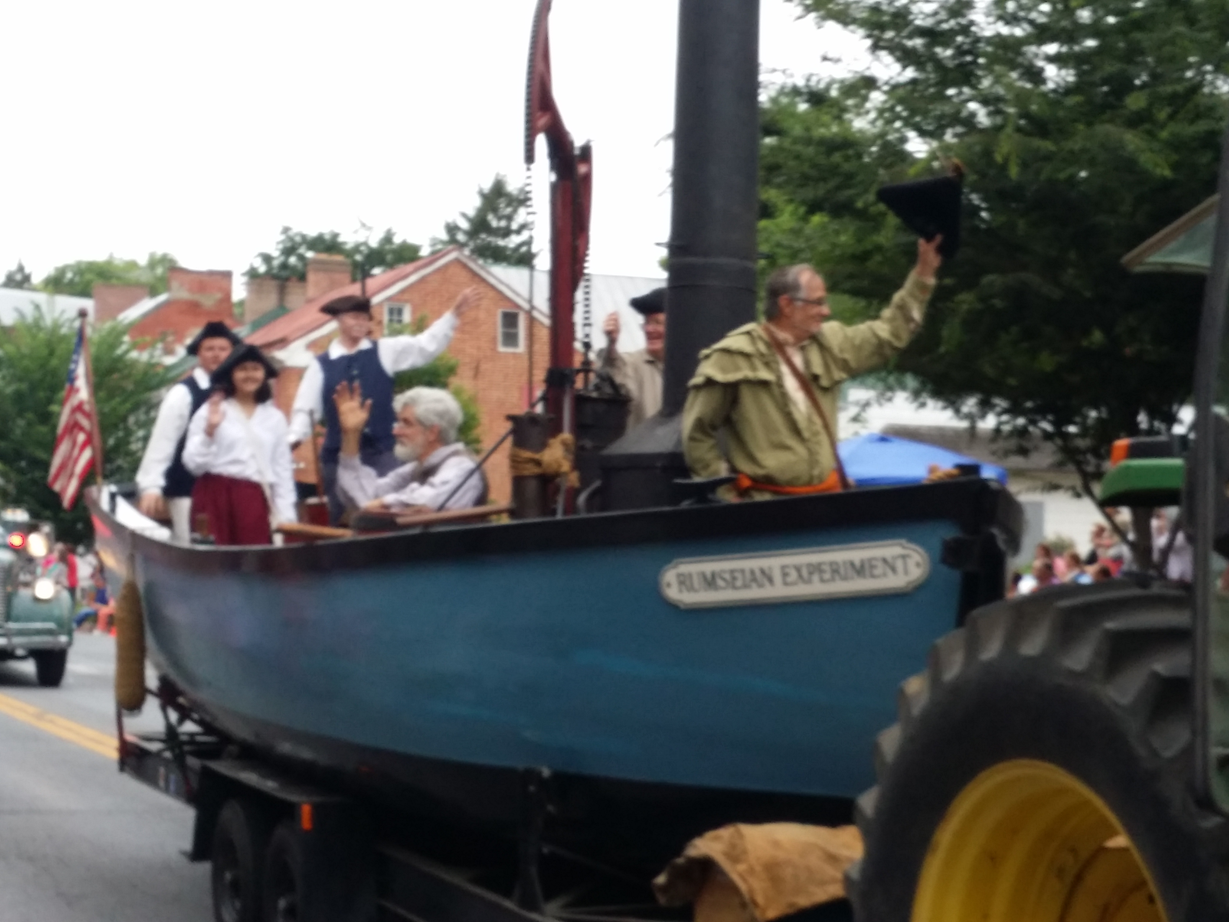 Replica of the Rumsey Boat in the 4th of July Parade.