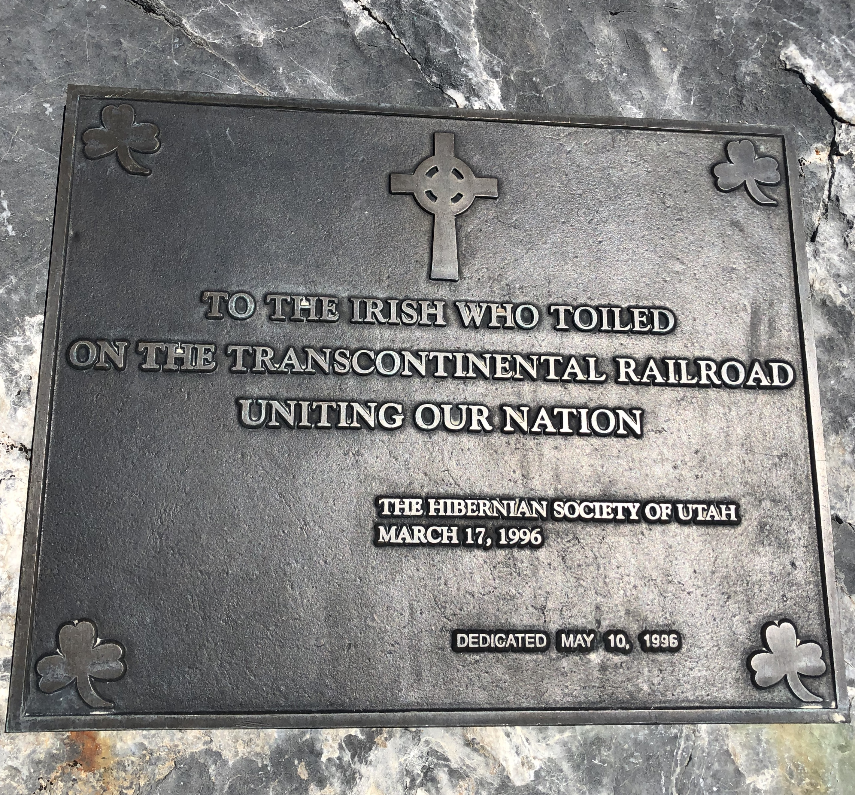 Plaque made to thank all the Irish who worked on the transcontinental railroad.