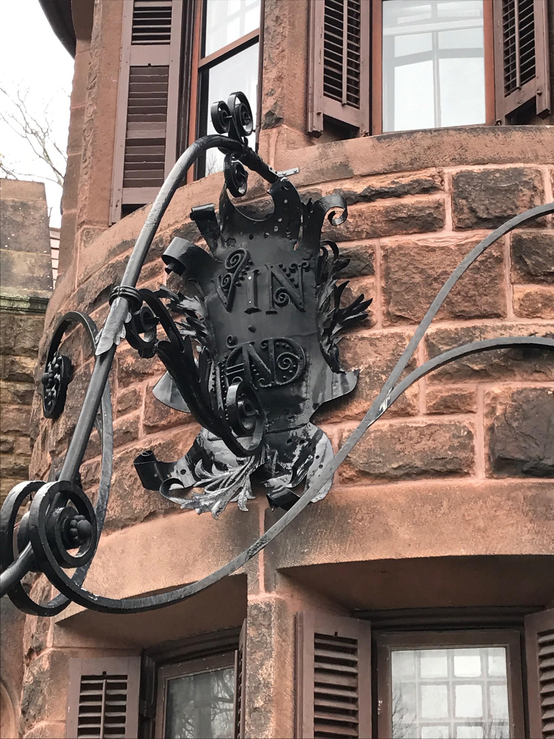 Vinland Estate plaque on the gatehouse.