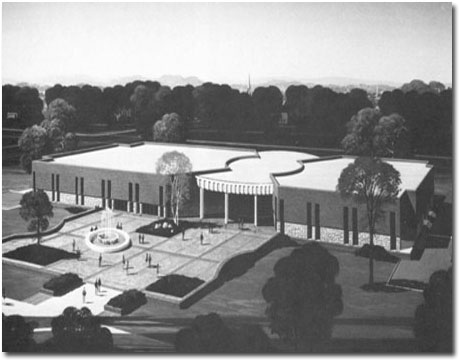 Artist's conception of the MSC. A simpler fountain had been planned to go in the plaza before the idea for the Memorial Fountain.
