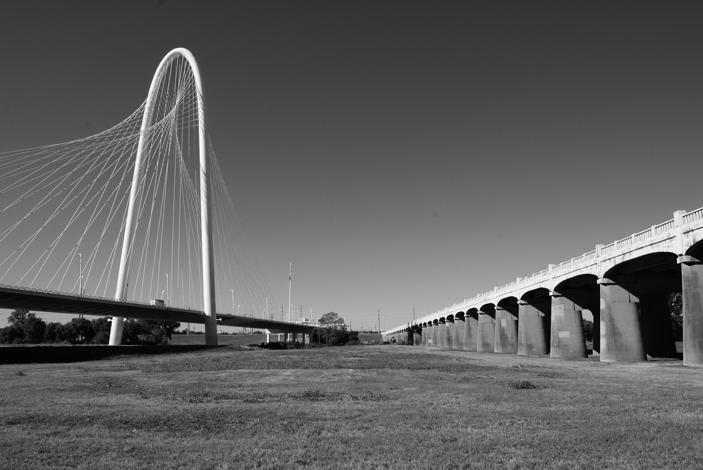 A view of the Kirk and Hill Bridges taken from the Trinity River flood plain.