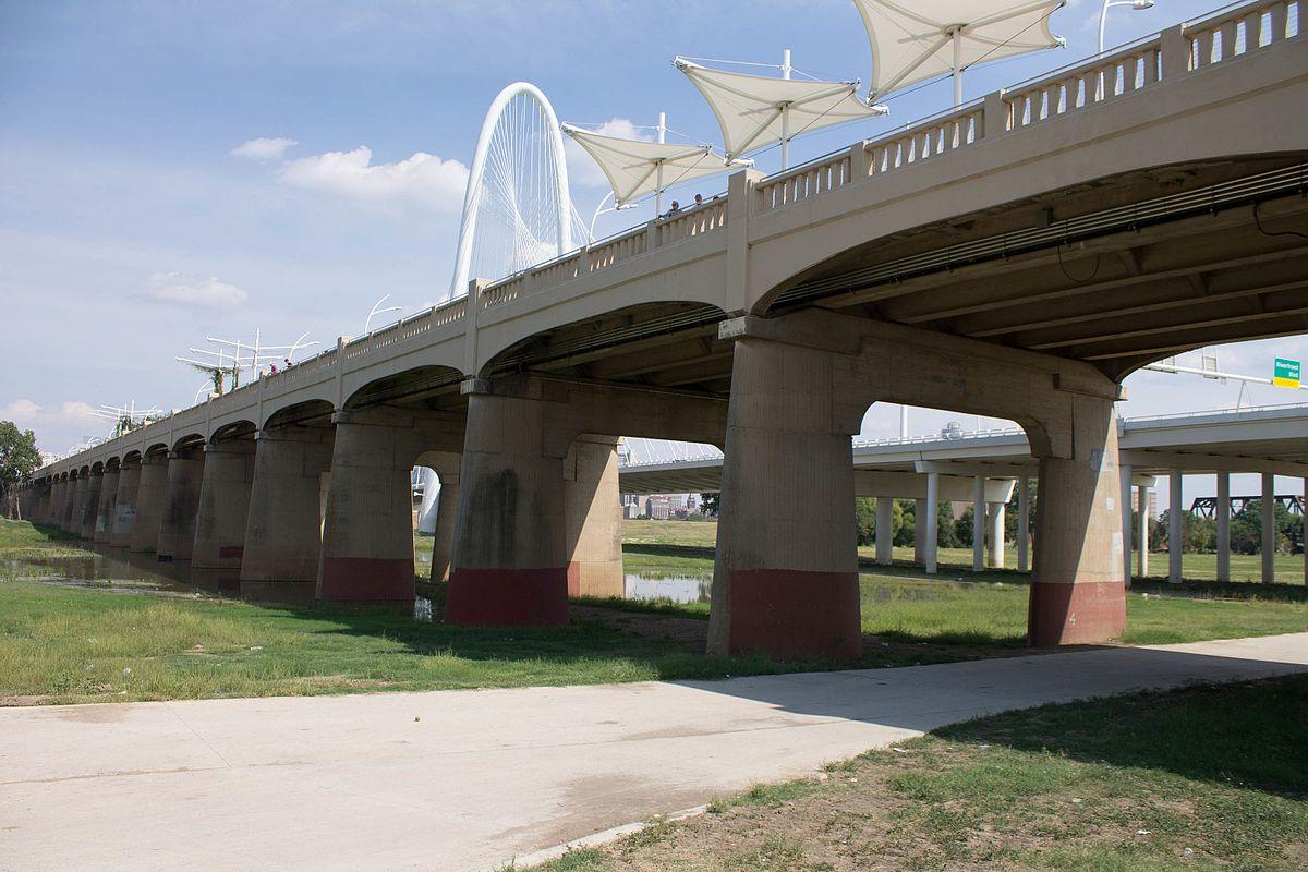 The Ronald Kirk Pedestrian Bridge from the underside.