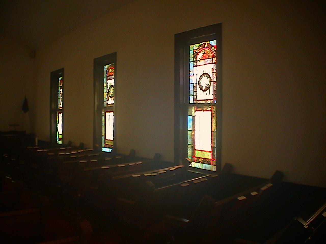 Some of the stained glass windows original to Wesley Memorial Church in Atlanta and installed in First Presbyterian Villa Rica ca. 1964-1965. Photo by Ernest E. Blevins, MFA, 14 July 2005.